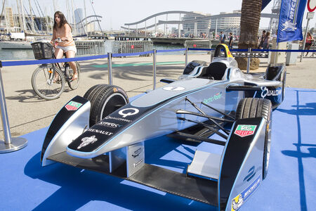 moll: Formula E Spark Renault SRT 01E at 6to6 Barcelona Motordays, an automotive feast of supercars and luxury brands, on June 7, 2014, in Moll de la Fusta, Barcelona, Spain Editorial