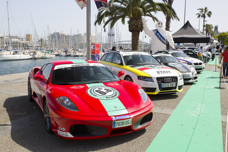 Some cars at 6to6 Barcelona Motordays, an automotive feast of supercars and luxury brands, on June 7, 2014, in Moll de la Fusta, Barcelona, Spain