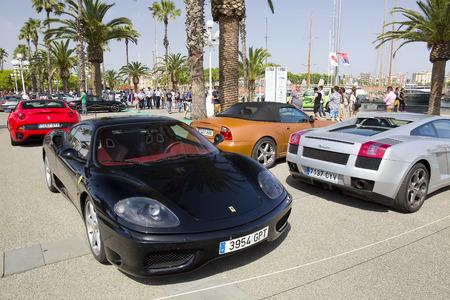 moll: Ferrari 360 Modena at 6to6 Barcelona Motordays, an automotive feast of supercars and luxury brands, on June 7, 2014, in Moll de la Fusta, Barcelona, Spain Editorial
