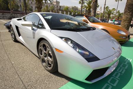 moll: Lamborghini Gallardo at 6to6 Barcelona Motordays, an automotive feast of supercars and luxury brands, on June 7, 2014, in Moll de la Fusta, Barcelona, Spain