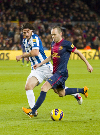 iniesta: Andres Iniesta in action during the Spanish League match between FC Barcelona and RCD Espanyol, 4 - 0, on January 6, 2013, in Barcelona, Spain