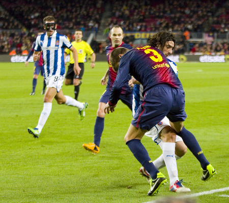 Some players in action during the Spanish League match between FC Barcelona and RCD Espanyol, 4 - 0, on January 6, 2013, in Barcelona, Spain