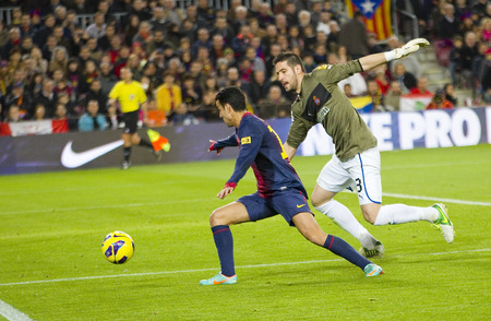 barsa: Pedro in action during the Spanish League match between FC Barcelona and RCD Espanyol, 4 - 0, on January 6, 2013, in Barcelona, Spain