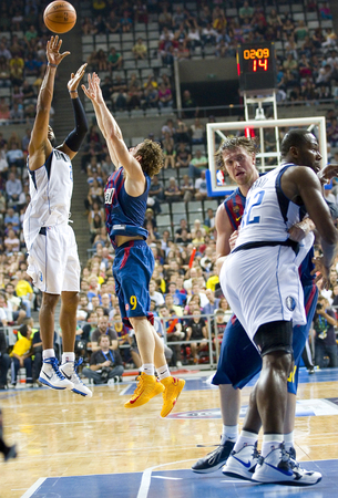 Some players in action at FC Barcelona vs Dallas Mavericks friendly match, final score 99-85, on October 9, 2012, in Palau Sant Jordi, Barcelona, Spain