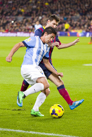 Lionel Messi of FCB in action at Spanish league match between FC Barcelona and Malaga CF, final score 3-0, on January 26, 2014, in Barcelona, Spain