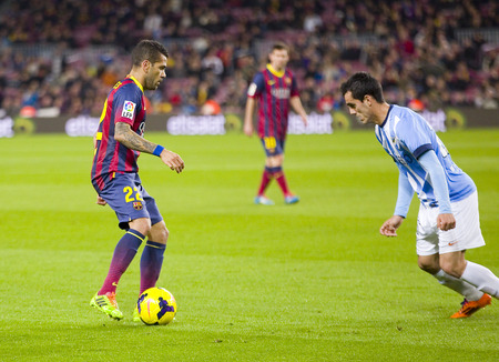 dani: Dani Alves of FCB in action at Spanish league match between FC Barcelona and Malaga CF, final score 3-0, on January 26, 2014, in Barcelona, Spain Editorial