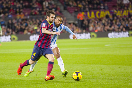 fabregas: Cesc Fabregas of FCB in action at Spanish league match between FC Barcelona and Malaga CF, final score 3-0, on January 26, 2014, in Barcelona, Spain