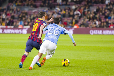 barsa: Lionel Messi of FCB in action at Spanish league match between FC Barcelona and Malaga CF, final score 3-0, on January 26, 2014, in Barcelona, Spain