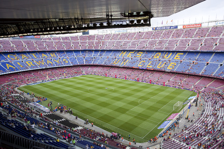 barsa: View of Camp Nou stadium before Gamper friendly match between FC Barcelona and Club Leon, final score 6-0, on August 18, 2014, in Barcelona, Spain