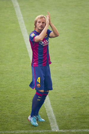 barsa: Ivan Rakitic presentation in front of the home supporters before Gamper match between FC Barcelona and Club Leon, 6-0, on August 18, 2014, in Camp Nou, Barcelona, Spain