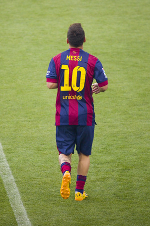 Leo Messi presentation in front of the home supporters before Gamper match between FC Barcelona and Club Leon, 6-0, on August 18, 2014, in Camp Nou, Barcelona, Spain