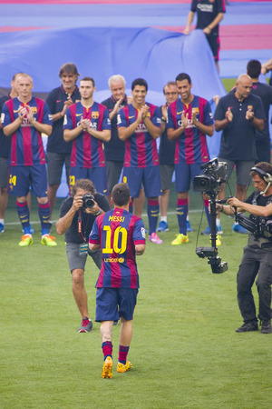 leo messi: Leo Messi presentation in front of the home supporters before Gamper match between FC Barcelona and Club Leon, 6-0, on August 18, 2014, in Camp Nou, Barcelona, Spain
