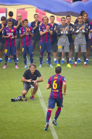 FCB team presentation in front of the home supporters before Gamper match between FC Barcelona and Club Leon, 6-0, on August 18, 2014, in Camp Nou, Barcelona, Spain
