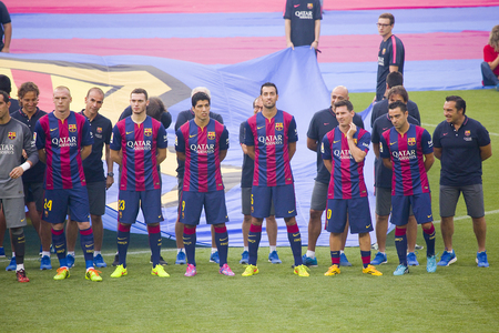 xavi: FCB team presentation in front of the home supporters before Gamper match between FC Barcelona and Club Leon, 6-0, on August 18, 2014, in Camp Nou, Barcelona, Spain
