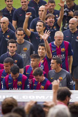 barsa: FCB team presentation in front of the home supporters before Gamper match between FC Barcelona and Club Leon, 6-0, on August 18, 2014, in Camp Nou, Barcelona, Spain