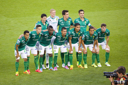 barsa: Club Leon players posing for photos at Gamper friendly match between FC Barcelona and Club Leon FC, final score 6-0, on August 18, 2014, in Camp Nou, Barcelona, Spain