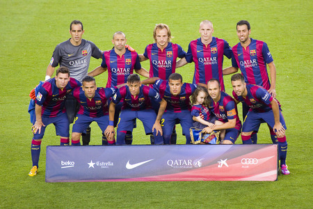 iniesta: FCB players posing for photos at Gamper friendly match between FC Barcelona and Club Leon FC, final score 6-0, on August 18, 2014, in Camp Nou, Barcelona, Spain