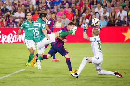 barsa: Leo Messi scores a goal at Gamper friendly match between FC Barcelona and Club Leon FC, final score 6-0, on August 18, 2014, in Camp Nou, Barcelona, Spain Editorial