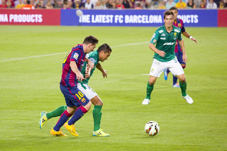 Leo Messi of FCB in action at Gamper friendly match between FC Barcelona and Club Leon FC, final score 6-0, on August 18, 2014, in Camp Nou, Barcelona, Spain Editorial