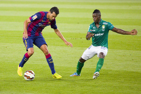 barsa: Sergio Busquets of FCB in action at Gamper friendly match between FC Barcelona and Club Leon FC, final score 6-0, on August 18, 2014, in Camp Nou, Barcelona, Spain Editorial