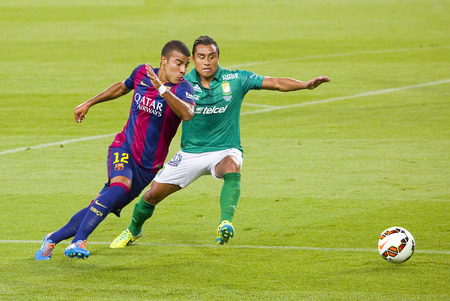 Rafinha Alcantara of FCB in action at Gamper friendly match between FC Barcelona and Club Leon FC, final score 6-0, on August 18, 2014, in Camp Nou, Barcelona, Spain Editorial