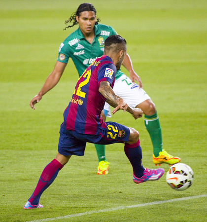 dani: Dani Alves of FCB in action at Gamper friendly match between FC Barcelona and Club Leon FC, final score 6-0, on August 18, 2014, in Camp Nou, Barcelona, Spain