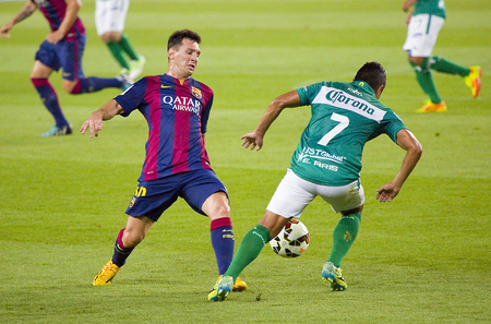 leo messi: Leo Messi of FCB in action at Gamper friendly match between FC Barcelona and Club Leon FC, final score 6-0, on August 18, 2014, in Camp Nou, Barcelona, Spain Editorial