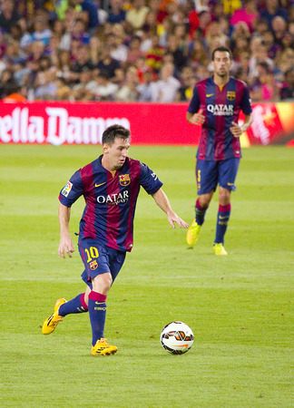 barsa: Leo Messi in action at Gamper friendly match between FC Barcelona and Club Leon FC, final score 6-0, on August 18, 2014, in Camp Nou, Barcelona, Spain
