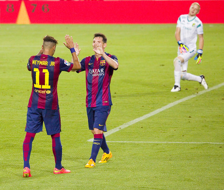barsa: Neymar and Messi celebrating a goal at Gamper friendly match between FC Barcelona and Club Leon FC, final score 6-0, on August 18, 2014, in Camp Nou, Barcelona, Spain