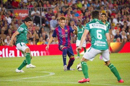 barsa: Munir El Haddadi of FCB in action at Gamper friendly match between FC Barcelona and Club Leon FC, final score 6-0, on August 18, 2014, in Camp Nou, Barcelona, Spain