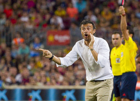 Luis Enrique, coach of FCB, at Gamper friendly match between FC Barcelona and Club Leon FC, final score 6-0, on August 18, 2014, in Camp Nou, Barcelona, Spain
