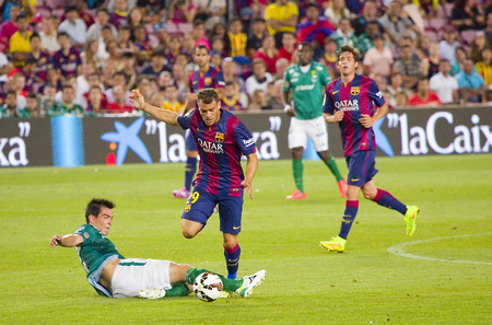 barsa: Sandro Ramirez of FCB in action at Gamper friendly match between FC Barcelona and Club Leon FC, final score 6-0, on August 18, 2014, in Camp Nou, Barcelona, Spain