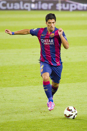 barsa: Luis Suarez in action at Gamper friendly match between FC Barcelona and Club Leon FC, final score 6-0, on August 18, 2014, in Camp Nou, Barcelona, Spain