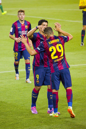 Sandro Ramirez and Luis Suarez celebrating a goal at Gamper friendly match between FC Barcelona and Club Leon FC, final score 6-0, on August 18, 2014, in Camp Nou, Barcelona, Spain