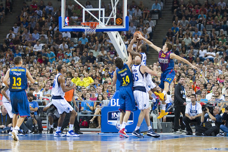 99: Some players in action at FC Barcelona vs Dallas Mavericks friendly match, final score 99-85, on October 9, 2012, in Palau Sant Jordi stadium, Barcelona, Spain