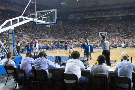 judge players: Some players in action at FC Barcelona vs Dallas Mavericks friendly match, final score 99-85, on October 9, 2012, in Palau Sant Jordi stadium, Barcelona, Spain