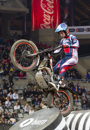 trial indoor: James Dabill compete at Trial Indoor of Barcelona, on February 9, 2014, in Palau Sant Jordi stadium, Barcelona, Spain. Toni Bou was the winner