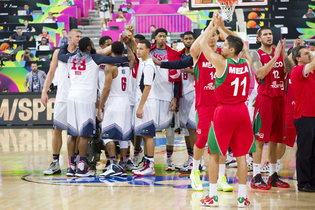 USA Team celebrating the victory at FIBA World Cup basketball match between USA and Mexico, final score 86-63, on September 6, 2014, in Barcelona, Spain Editorial