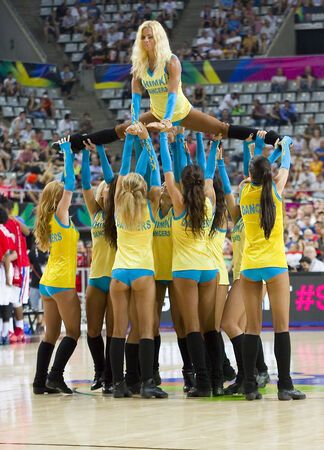 Khimki Dancers cheerleaders at FIBA World Cup basketball match between Slovenia and Dominican Republic, final score 71-61, on September 6, 2014, in Barcelona, Spain