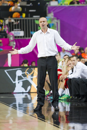 jure: Jure Zdovc, coach of Slovenia, at FIBA World Cup basketball match between Slovenia and Dominican Republic, final score 71-61, on September 6, 2014, in Barcelona, Spain Editorial