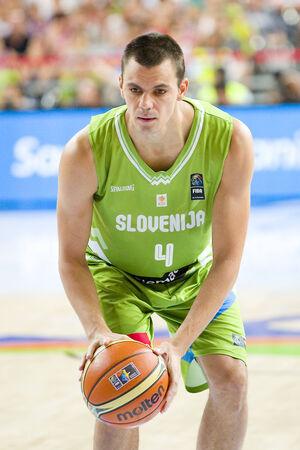 jure: Jure Balazic of Slovenia at FIBA World Cup basketball match between Slovenia and Dominican Republic, final score 71-61, on September 6, 2014, in Barcelona, Spain