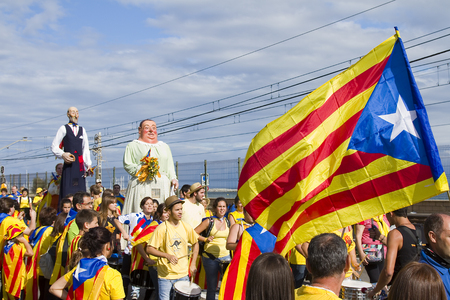 Catalans made a 400km human chain to show their desire for independence from Spain, on Sept. 11, 2013 in Barcelona, Spain. More than 1 million people took part in the event