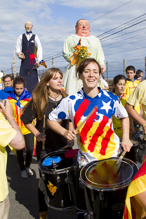 nationalists: Catalans made a 400km human chain to show their desire for independence from Spain, on Sept. 11, 2013 in Barcelona, Spain. More than 1 million people took part in the event