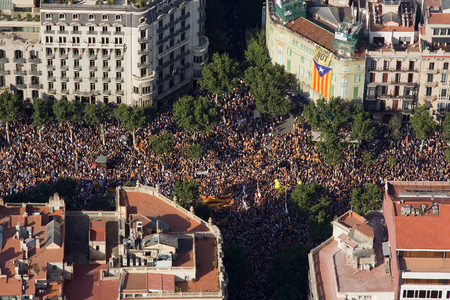 converge: Up to a million people converge on Barcelona to join a rally demanding independence for Catalonia on July 10 2010 in Barcelona Spain