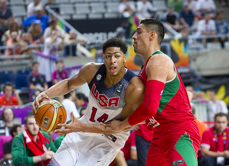 Anthony Davis of USA Team in action at FIBA World Cup basketball match between USA and Mexico, final score 86-63, on September 6, 2014, in Barcelona, Spain 에디토리얼