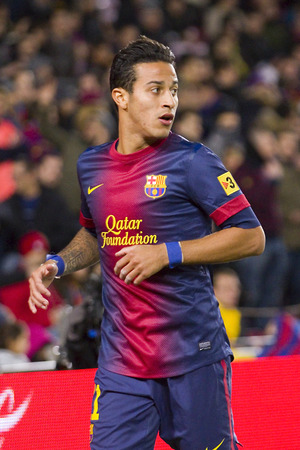Thiago Alcantara of FCB in action at the Spanish League match between FC Barcelona and Osasuna, final score 5 - 1, on January 27, 2013, in Barcelona, Spain