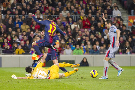 Pedro Rodriguez of FCB in action at the Spanish League match between FC Barcelona and Osasuna, final score 5 - 1, on January 27, 2013, in Barcelona, Spain