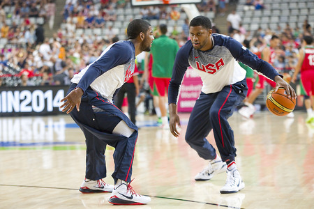 rudy: Kyrie Irving and Rudy Gay of USA Team at FIBA World Cup basketball match between USA and Mexico, final score 86-63, on September 6, 2014, in Barcelona, Spain