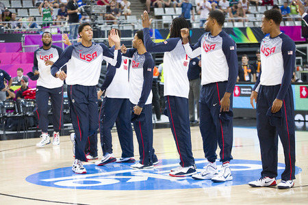 rudy: USA Team at FIBA World Cup basketball match between USA and Mexico, final score 86-63, on September 6, 2014, in Barcelona, Spain Editorial