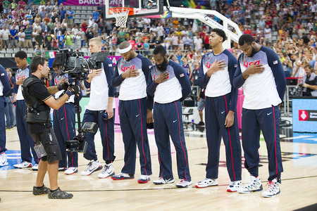 anthem: USA Team at FIBA World Cup basketball match between USA and Mexico, final score 86-63, on September 6, 2014, in Barcelona, Spain Editorial